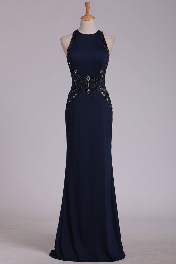 2019 Black Prom Dresses Scoop Sheath With Beading Open Back Spandex