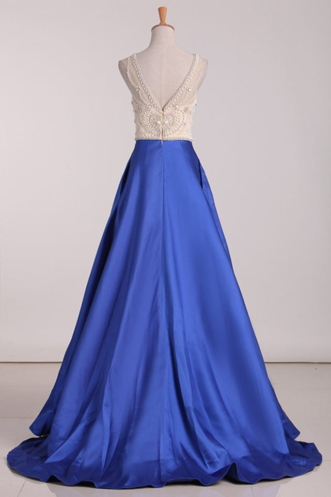 2019 Scoop Beaded Bodice A Line Prom Dresses Satin