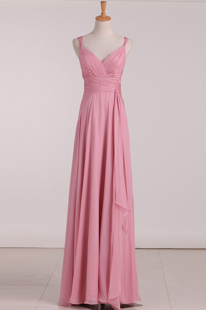 New Arrival Straps Bridesmaid Dresses Chiffon With Ruffles A Line