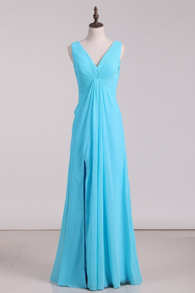 Bridesmaid Dresses V Neck Ruffled Bodice Chiffon Floor Length With Slit