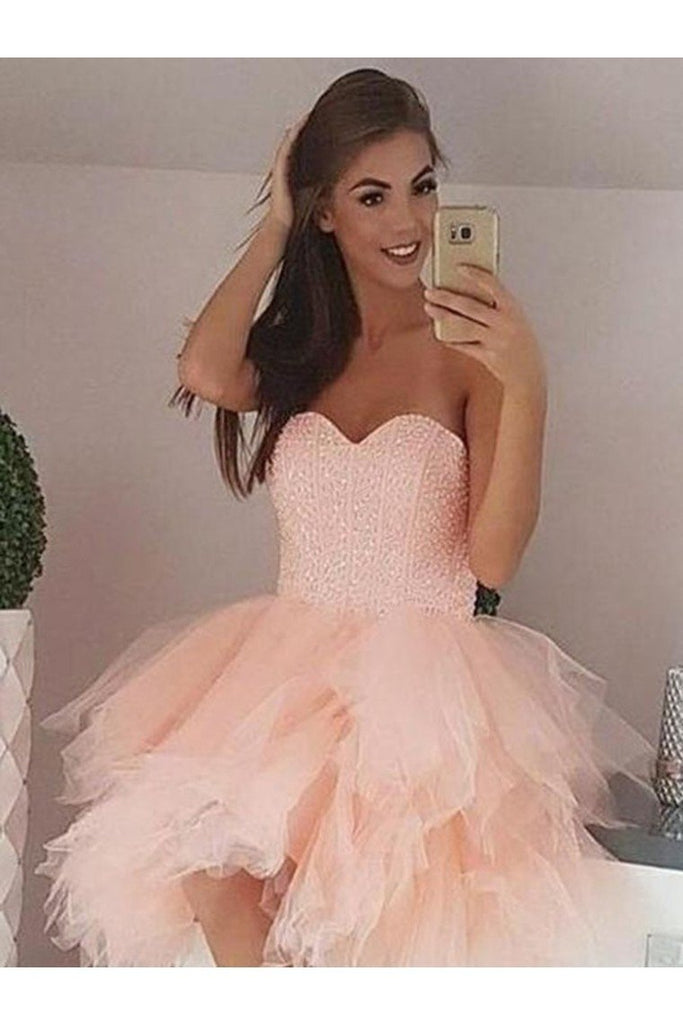 A-Line/Princess Tulle Beading Sweetheart Sleeveless Short/Mini Homecoming
