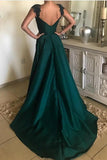 Elegant Beaded Peacock Green V Neck Long Satin Open Back Prom Dresses