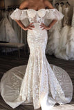 Gorgeous Mermaid Off the Shoulder Sweetheart Open Back Ivory Lace Wedding Dresses