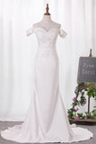 Elegant Mermaid Off the Shoulder Sweetheart Lace Appliques Satin Wedding Dresses