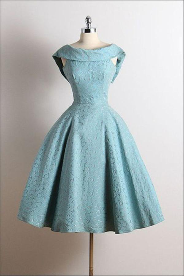 Cute Vintage Scoop A-Line Sleeveless Knee-Length Lace Blue Homecoming Dresses