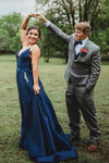 Straps A-Line Beaded Navy Blue Prom Dress With