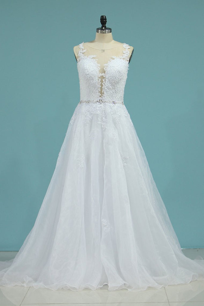 2019 Organza Scoop With Applique Wedding Dresses A Line Sweep