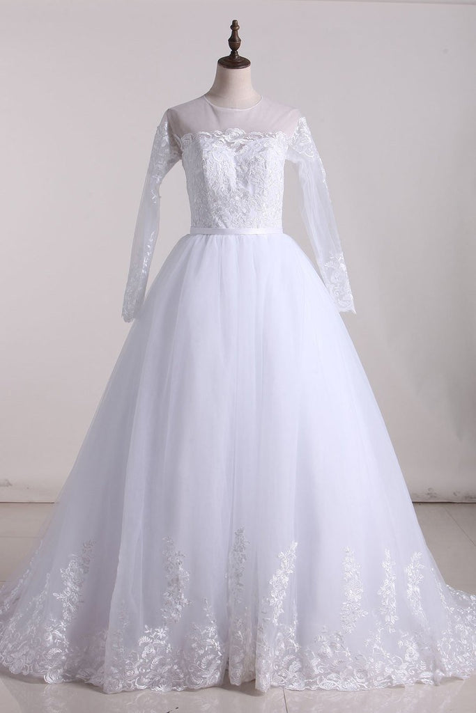 2019 A Line Scoop Long Sleeves Tulle With Applique And Sash Wedding