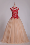 2019 Quinceanera Dresses High Neck Ball Gown Tulle With Applique Sweep