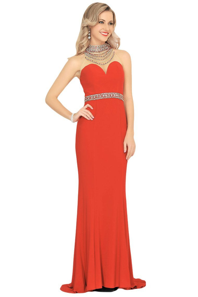 2019 Prom Dresses Mermaid High Neck Spandex With Beading Sweep