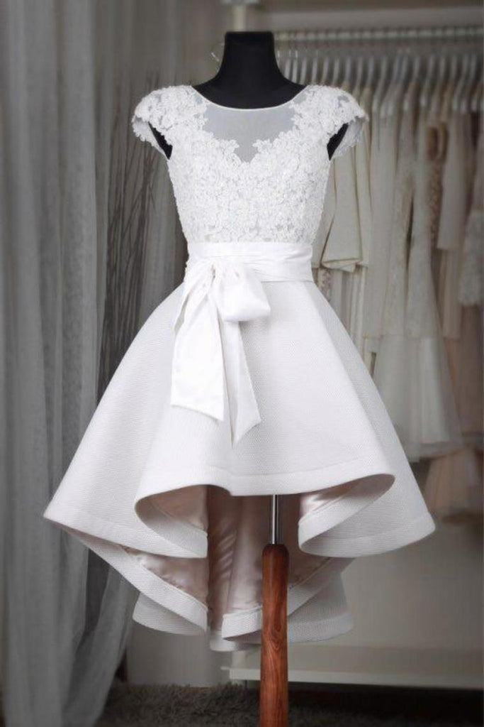 Cute Cap Sleeve Short Off White High Low Homecoming Dresses