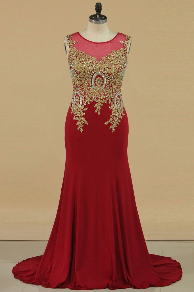 2019 Plus Size Prom Dresses Scoop Mermaid Spandex With Applique Sleeveless Burgundy/Maroon