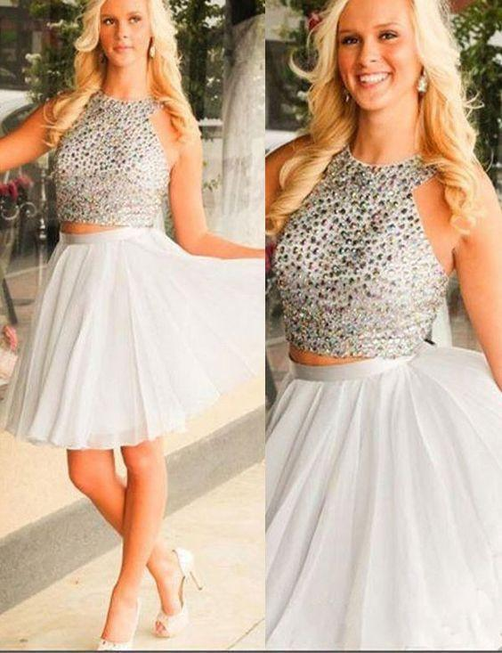 Fashion Halter A-line Two Piece Short Homecoming Dress