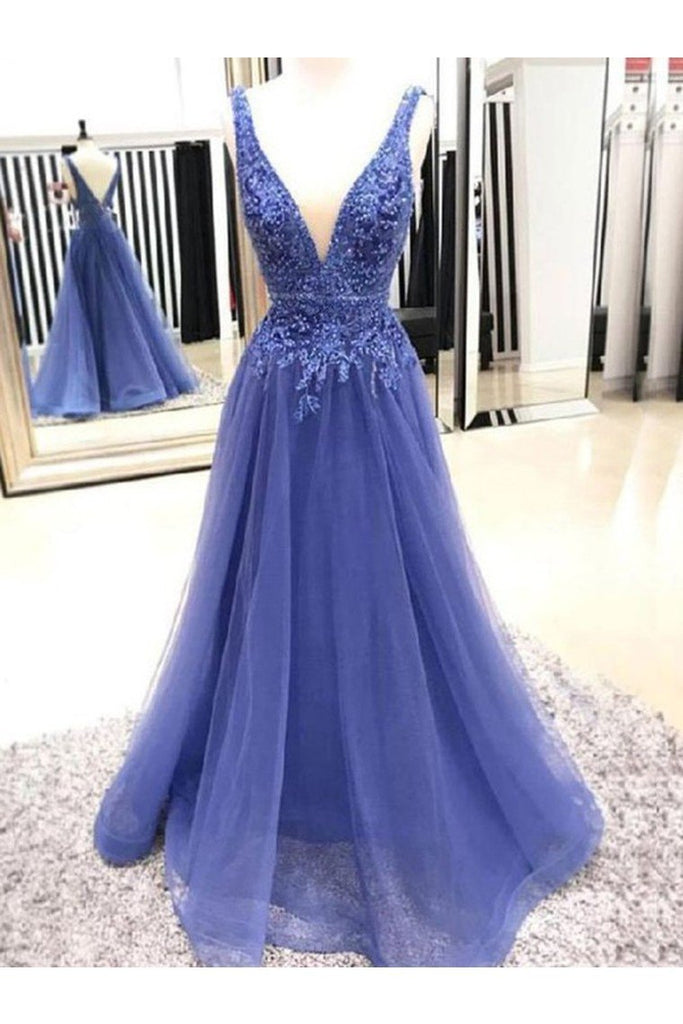 A-Line/Princess V-Neck Sleeveless Floor-Length Applique Tulle