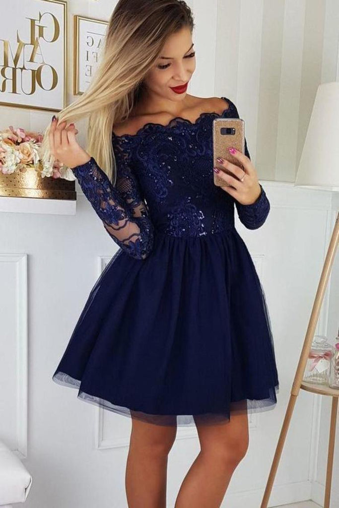 Cute Off The Shoulder Tulle Homecoming Dress With Lace Appliques, Short Prom