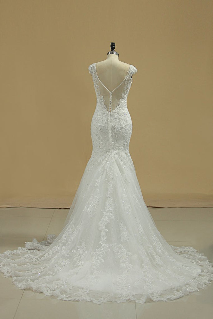 2019 Straps Mermaid/Trumpet Wedding Dresses Tulle With Applique