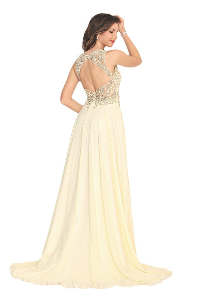 2019 Sexy Open Back Prom Dresses Scoop Chiffon With Beading