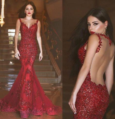 Gorgeous Red Mermaid V-neck Backless Prom Dresses with Beading Appliques For Spring Teens