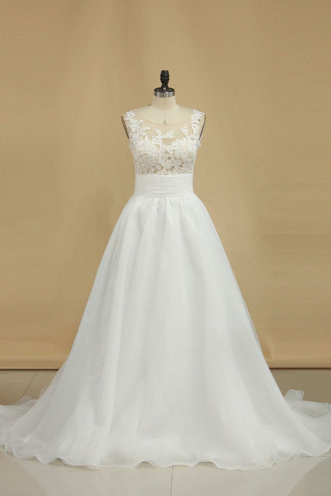 2019 New Arrival Scoop With Applique Organza Wedding Dresses A