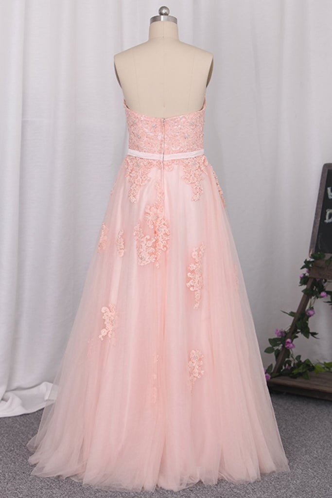 2019 Sweetheart Prom Dresses A Line Tulle With Applique