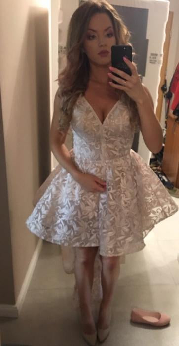 Cute Spaghetti Straps High Low V Neck Pearl Pink Lace Appliques Homecoming Dresses