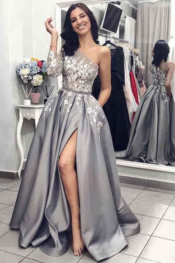 2019 Ball Gown One Shoulder Long Sleeves Grey Satin Split White Lace Long Prom Dresses With Pockets Prom