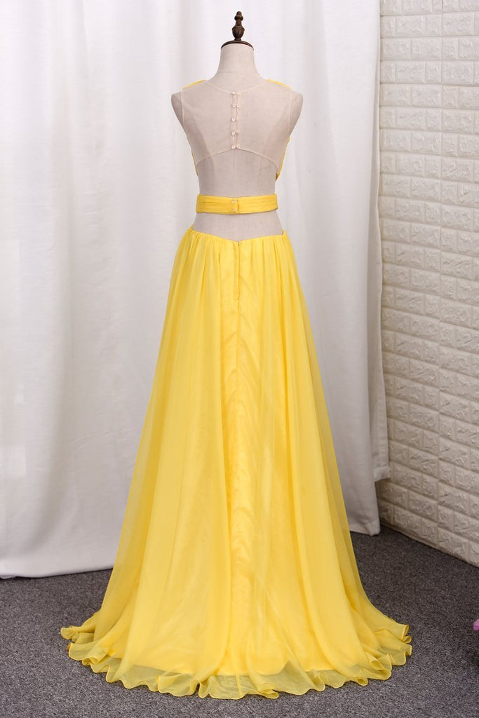 2019 New Arrival Prom Dresses A Line Tulle Scoop With Ruffles And