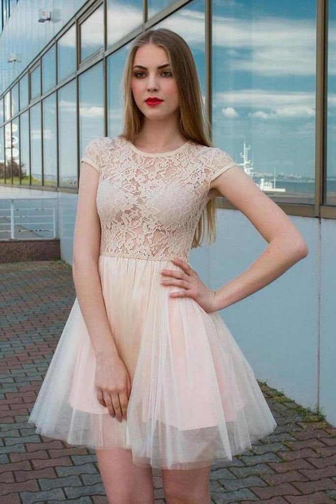 Jewel Neck Lace Top Tulle Cap Sleeves Homecoming