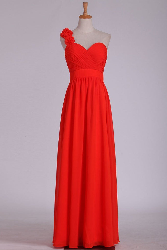 One Shoulder A Line Bridesmaid Dresses With Handmade Flowers & Ruffles Chiffon