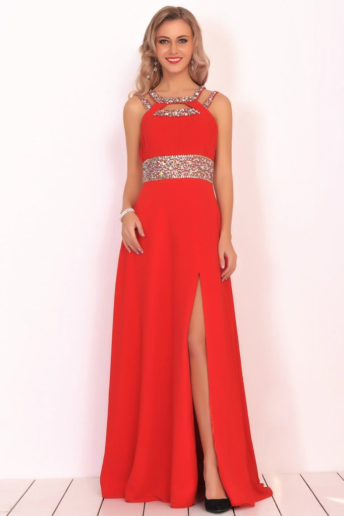 2019 New Arrival Scoop Prom Dresses A Line Chiffon With Beads