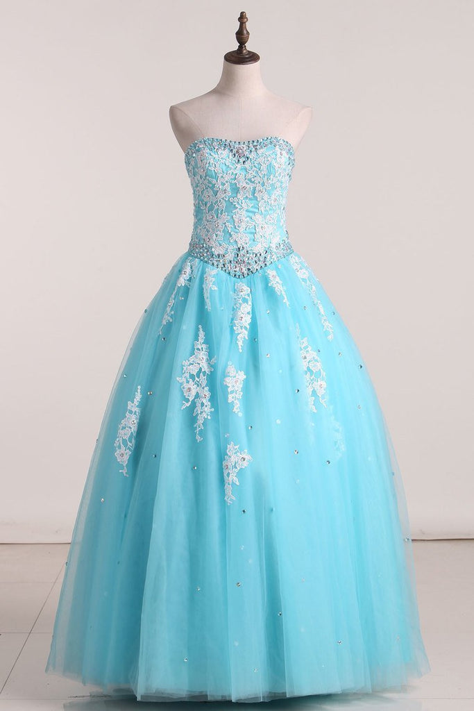 2019 Strapless Quinceanera Dresses With Appliques Floor