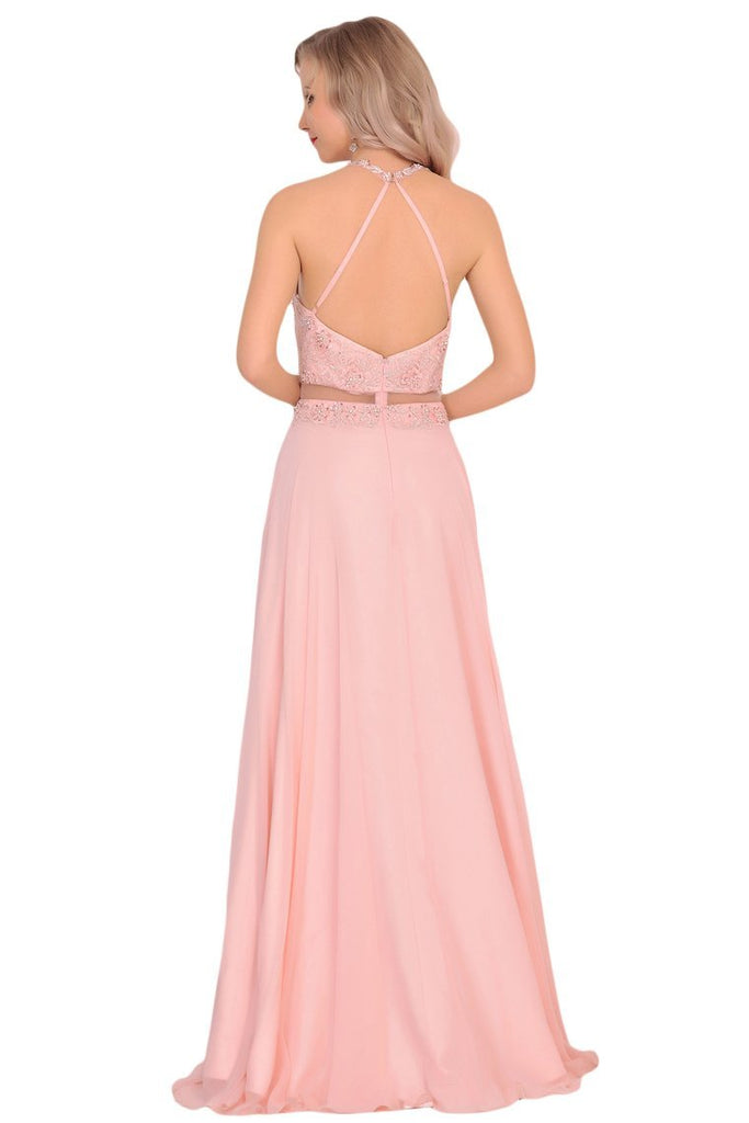 2019 Chiffon Halter Open Back Prom Dresses With Beads And Embroidery A