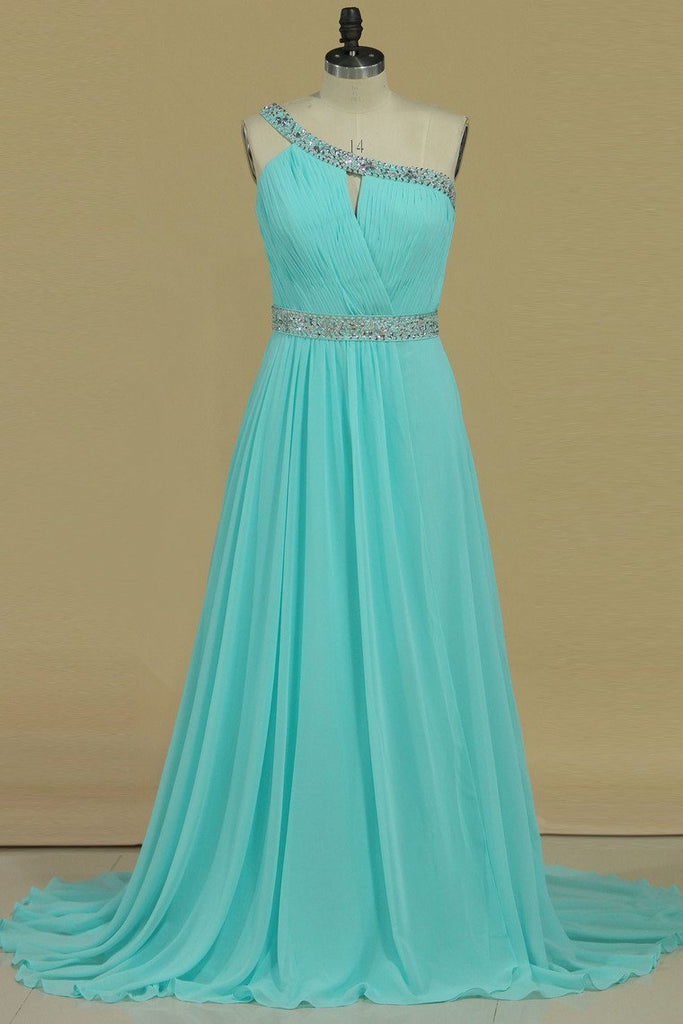 2019 Hot One Shoulder Prom Dresses A Line Chiffon With Beading & Ruffles