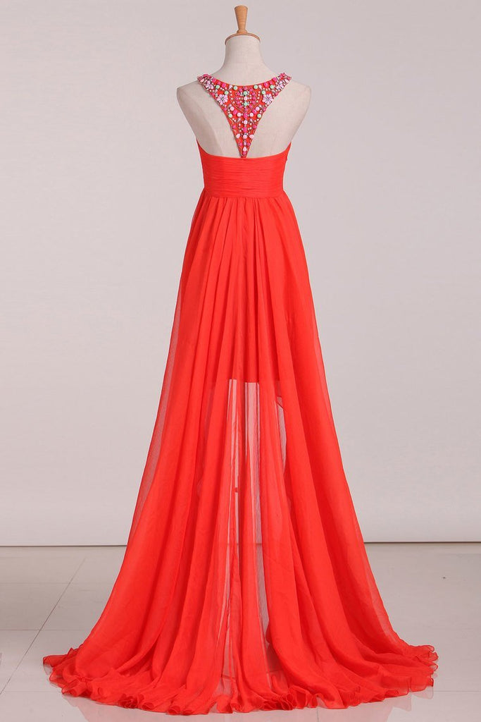 2019 Asymmetrical A Line Prom Dresses Scoop With Beading Chiffon