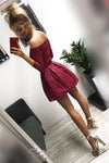 Cute Off the Shoulder Long Sleeves Burgundy Lace Homecoming Dresses Sweet 16 Dresses STB14972