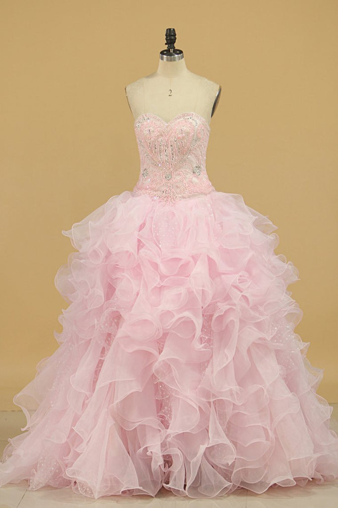 2019 Ball Gown Sweetheart Organza Quinceanera Dresses Court Train Detachable
