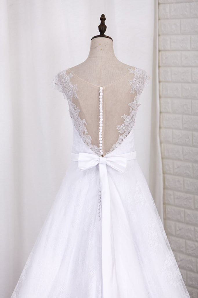 2019 V Neck A Line Wedding Dresses Lace With Sash Court