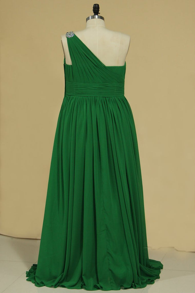 A Line One Shoulder Bridesmaid Dresses With Ruffles And Slit Chiffon