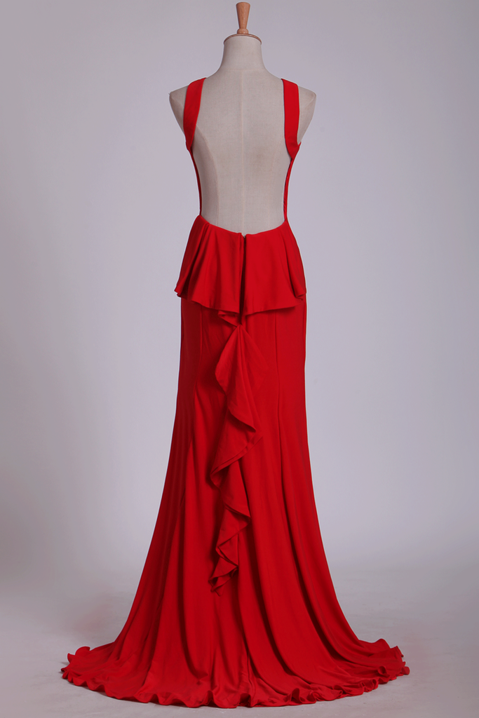 Red Evening Dresses Scoop Open Back Mermaid/Trumpet Red Sweep