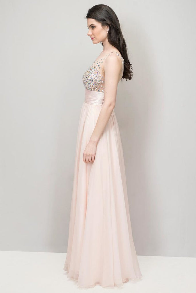 2019 Prom Dresses Beaded And Ruched Bodice Scoop A Line Chiffon Floor Length