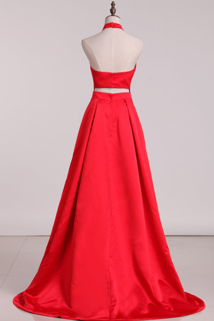 New Arrival Halter A Line Evening Dresses Satin Sweep STBPXRSZSBM