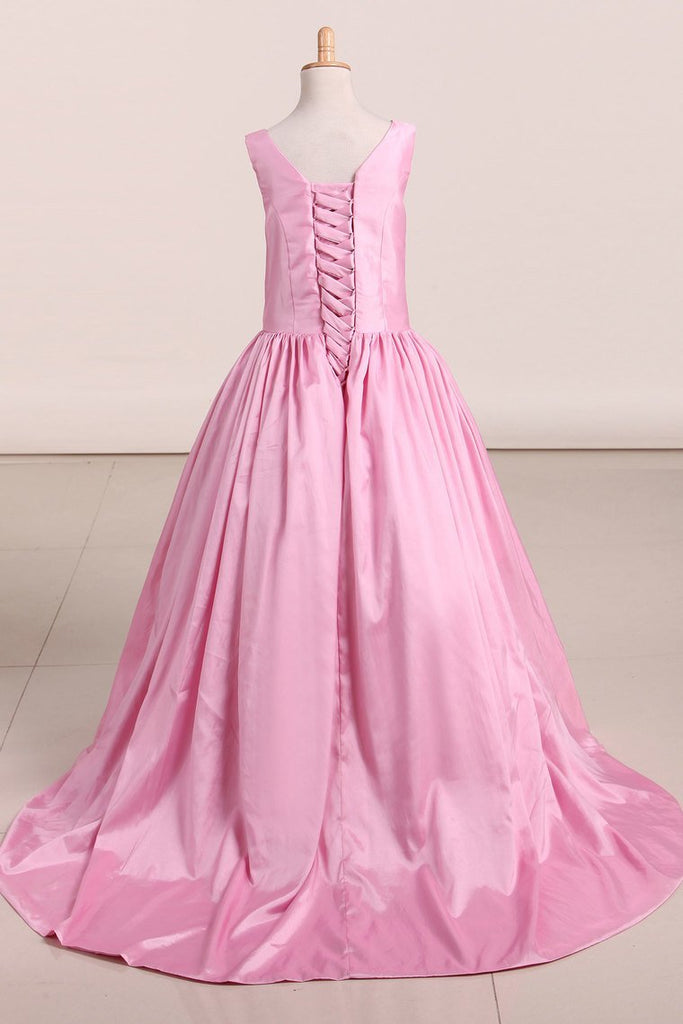 2019 New Arrival Flower Girl Dresses Scoop Taffeta With Beading A Line Sweep