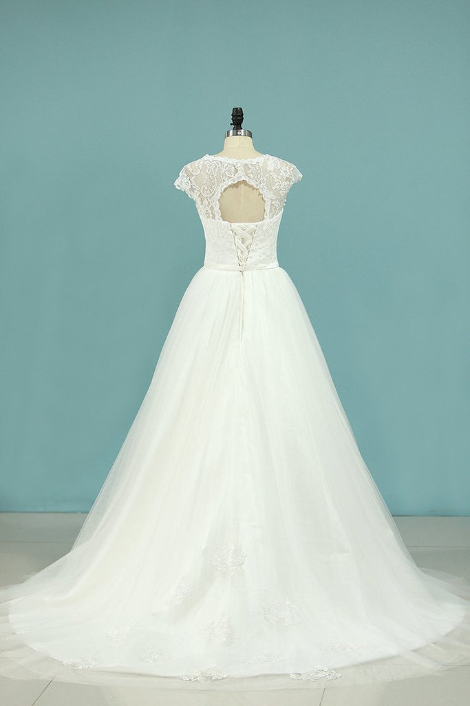 2019 A Line Wedding Dresses Off The Shoulder Tulle With Applique And