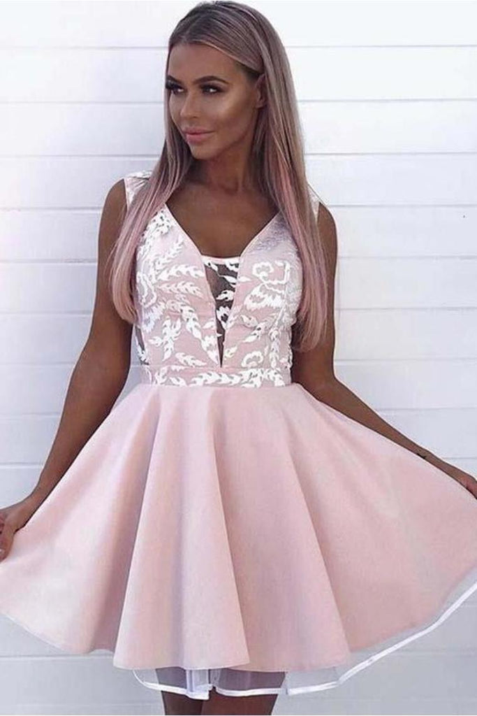 Fashion A Line V Neck Sleeveless Pink Appliques Short Homecoming