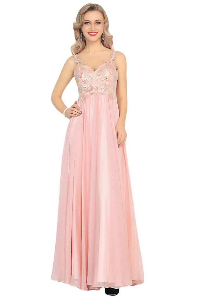 2019 A Line Spaghetti Straps Prom Dresses Chiffon With Beads And