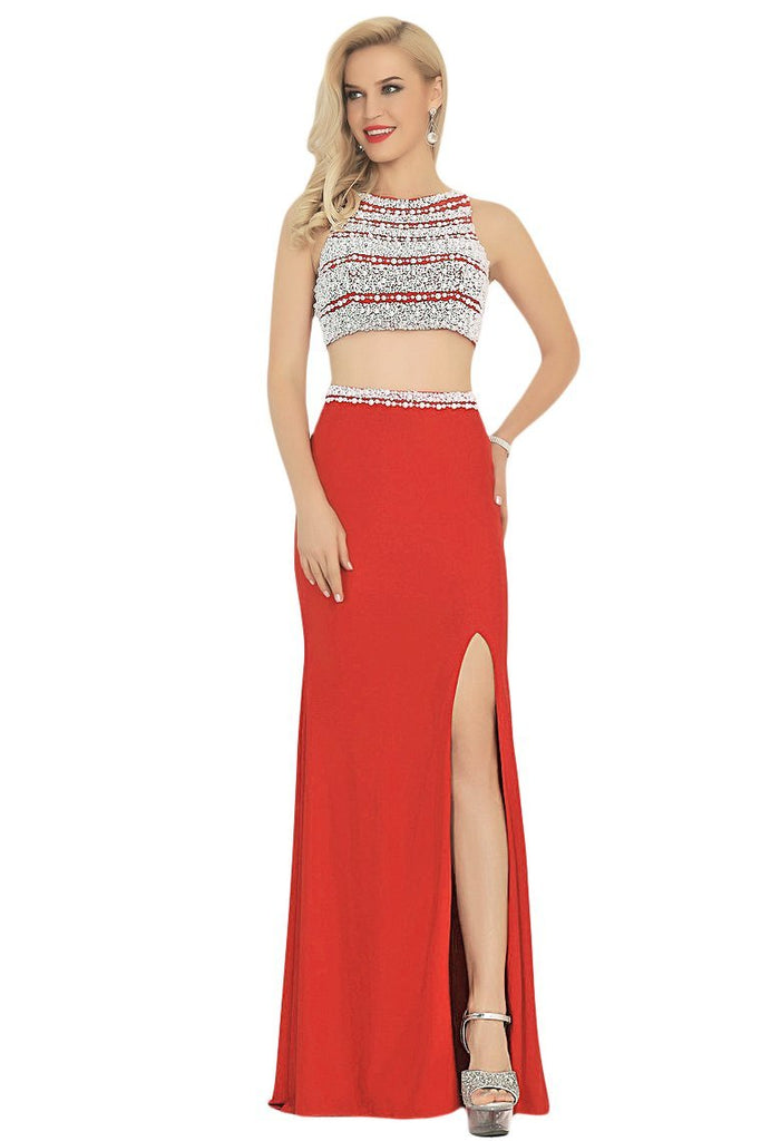 2019 Two-Piece Scoop Prom Dresses Spandex With Beads And