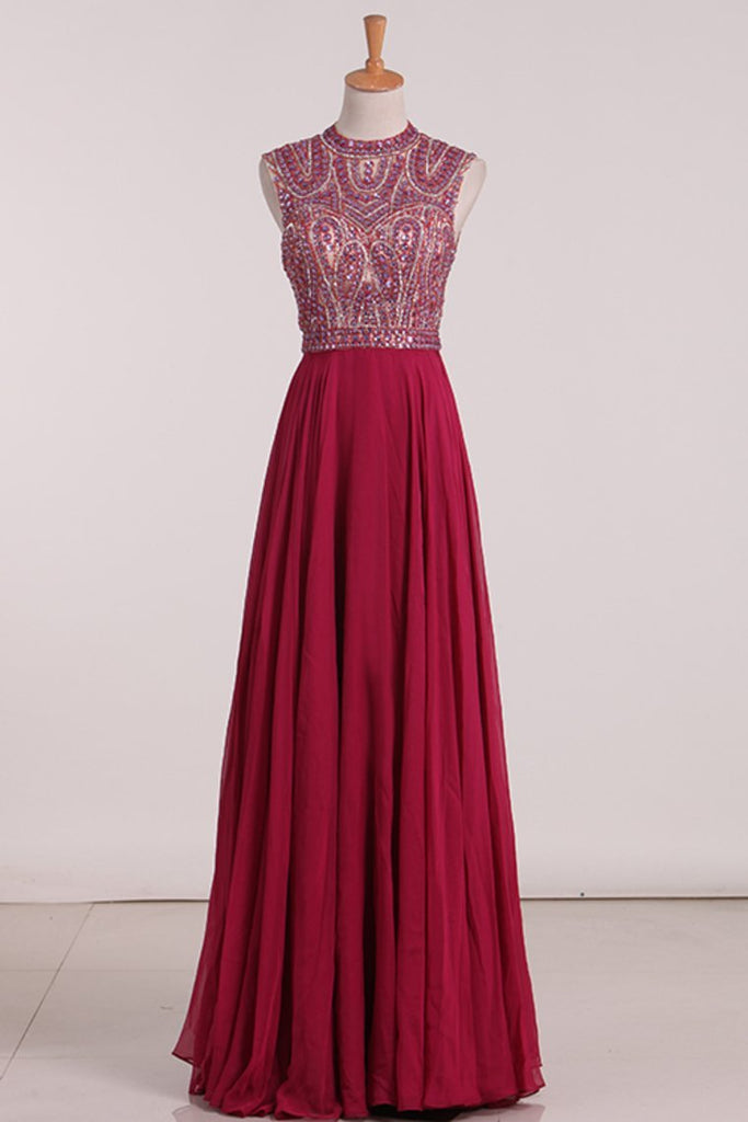 2019 Open Back Prom Dresses A Line Chiffon With Beading Floor Length