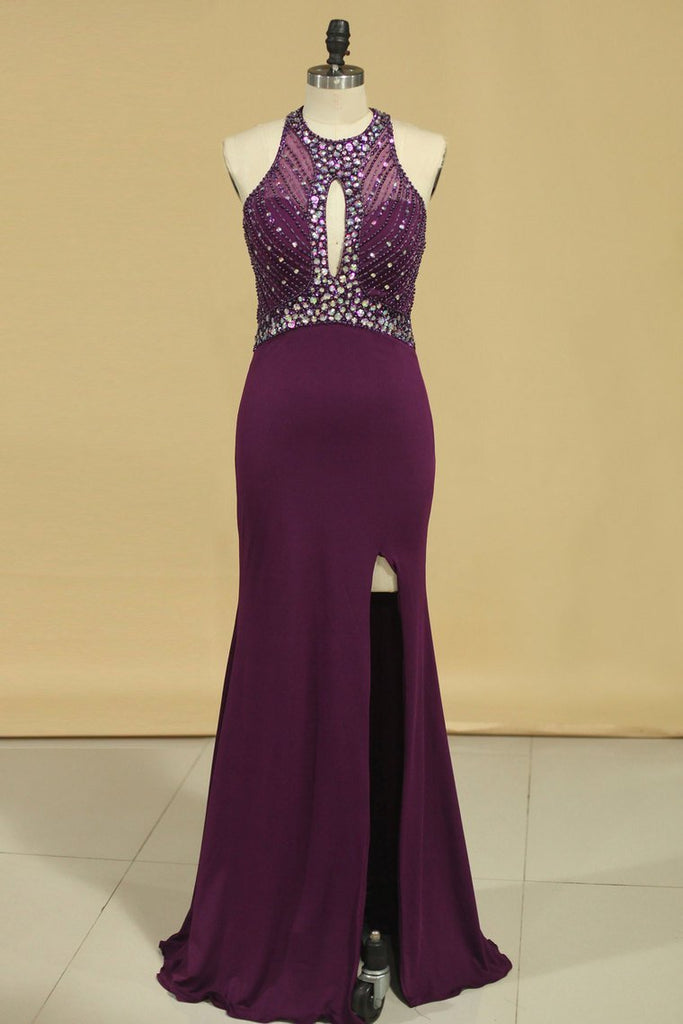 2019 Scoop Open Back Beaded Bodice Dark Royal Blue Prom Dresses Sheath Spandex