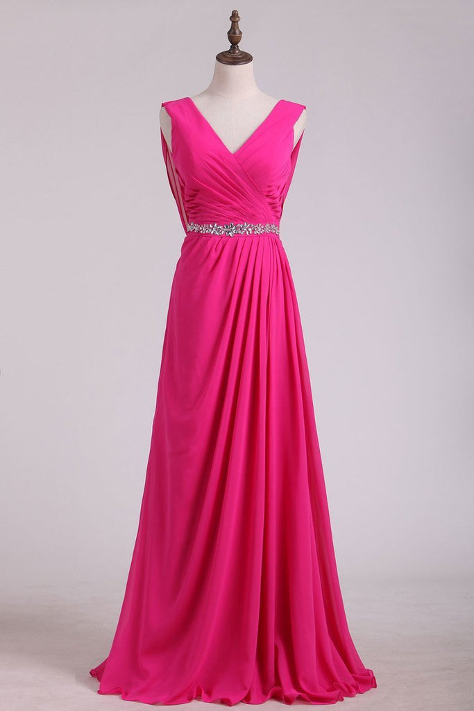 2019 Bridesmaid Dresses V Neck A Line Chiffon Sweep Train
