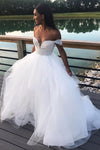 Off The Shoulder Keyhole Back Wedding Gown With Lace
